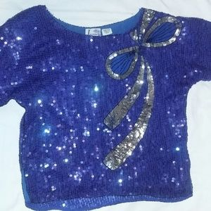 Vintage Jasmine Sequins Blue Top with Size M